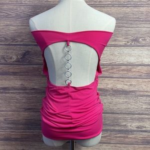 Eclipse Pink Top With Chain Detail Open Back